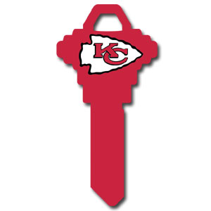 Schlage NFL House Key - Kansas City Chiefs - NFL house keys are a great way to show team spirit while keeping keys organized.  keys can be cut to fit your home or office at the local hardware store or locksmith.  Style pre-fix FSK can be cut to fit Schlage keys (reference pre-fix FQK for key). Officially licensed NFL product Licensee: Siskiyou Buckle Thank you for visiting CrazedOutSports.com