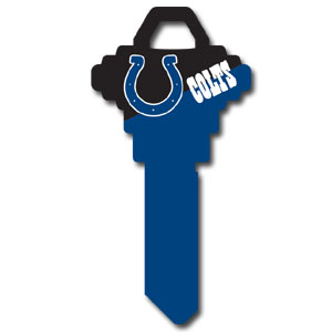 Schlage NFL House Key - Indianapolis Colts - NFL house keys are a great way to show team spirit while keeping keys organized.  keys can be cut to fit your home or office at the local hardware store or locksmith.  Style pre-fix FSK can be cut to fit Schlage keys (reference pre-fix FQK for key). Officially licensed NFL product Licensee: Siskiyou Buckle Thank you for visiting CrazedOutSports.com