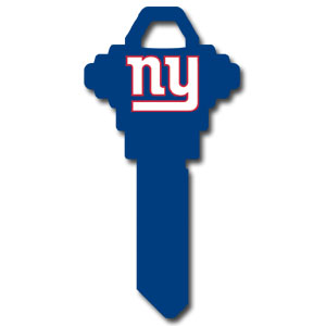 Schlage NFL House Key - New York Giants - NFL house keys are a great way to show team spirit while keeping keys organized.  keys can be cut to fit your home or office at the local hardware store or locksmith.  Style pre-fix FSK can be cut to fit Schlage keys (reference pre-fix FQK for key). Officially licensed NFL product Licensee: Siskiyou Buckle .com