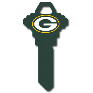 Schlage NFL House Key - Green Bay Packers - NFL house keys are a great way to show team spirit while keeping keys organized.  keys can be cut to fit your home or office at the local hardware store or locksmith.  Style pre-fix FSK can be cut to fit Schlage keys (reference pre-fix FQK for key). Officially licensed NFL product Licensee: Siskiyou Buckle .com