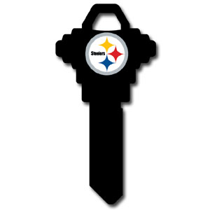 Schlage NFL House Key - Pittsburgh Steelers - NFL house keys are a great way to show team spirit while keeping keys organized.  keys can be cut to fit your home or office at the local hardware store or locksmith.  Style pre-fix FSK can be cut to fit Schlage keys (reference pre-fix FQK for key). Officially licensed NFL product Licensee: Siskiyou Buckle .com