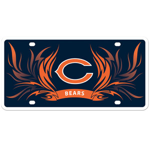 Chicago Bears Flame Plate - Our  Chicago Bears styrene license plate features a wild flame design around the Chicago Bears logo. The styrene license plate comes with 4 suction cups for easy mounting to windows. Officially licensed NFL product Licensee: Siskiyou Buckle .com