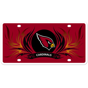 Arizona Cardinals Flame Plate - Our  Arizona Cardinals styrene license plate features a wild flame design around the Arizona Cardinals logo. The styrene license plate comes with 4 suction cups for easy mounting to windows. Officially licensed NFL product Licensee: Siskiyou Buckle Thank you for visiting CrazedOutSports.com