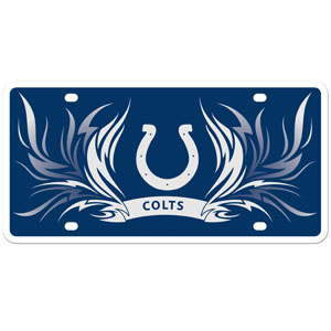 Indianapolis Colts Flame Plate - This Indianapolis Colts styrene license plate features a wild flame design around the Indianapolis Colts logo. The styrene license plate comes with 4 suction cups for easy mounting to windows. Officially licensed NFL product Licensee: Siskiyou Buckle Thank you for visiting CrazedOutSports.com