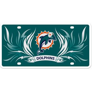 Miami Dolphins Flame Plate - This Miami Dolphins styrene license plate features a wild flame design around the Miami Dolphins logo. The plate comes with 4 suction cups for easy mounting to windows. Officially licensed NFL product Licensee: Siskiyou Buckle Thank you for visiting CrazedOutSports.com