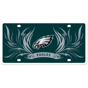 Philadelphia Eagles Flame Plate - Our  Philadelphia Eagles styrene license plate features a wild flame design around the Philadelphia Eagles logo. The styrene license plate comes with 4 suction cups for easy mounting to windows. Officially licensed NFL product Licensee: Siskiyou Buckle Thank you for visiting CrazedOutSports.com