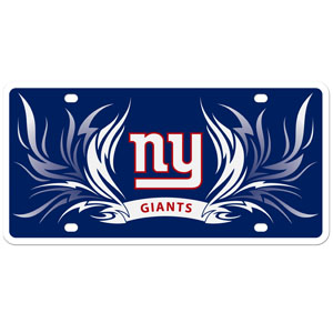 New York Giants Flame Plate - Our  New York Giants styrene license plate features a wild flame design around the New York Giants logo. The styrene license plate comes with 4 suction cups for easy mounting to windows. Officially licensed NFL product Licensee: Siskiyou Buckle Thank you for visiting CrazedOutSports.com
