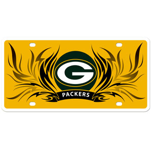 Green Bay Packers Flame Plate - This Green Bay Packers styrene license plate features a wild flame design around the Green Bay Packers logo. The styrene license plate comes with 4 suction cups for easy mounting to windows. Officially licensed NFL product Licensee: Siskiyou Buckle Thank you for visiting CrazedOutSports.com