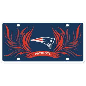 New England Patriots Flame Plate - This New England Patriots styrene license plate features a wild flame design around the New England Patriots logo. The styrene license plate comes with 4 suction cups for easy mounting to windows. Officially licensed NFL product Licensee: Siskiyou Buckle .com