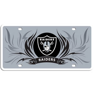 Oakland Raiders Flame Plate - Our Oakland Raiders styrene license plate features a wild flame design around the Oakland Raiders logo. The styrene license plate comes with 4 suction cups for easy mounting to windows. Officially licensed NFL product Licensee: Siskiyou Buckle Thank you for visiting CrazedOutSports.com
