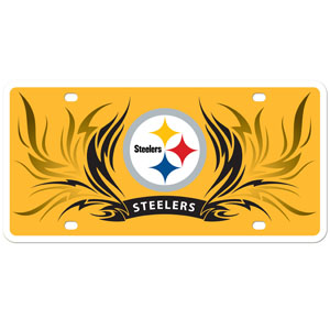 Steelers Flame Plate - Our  Pittsburgh Steelers styrene license plate features a wild flame design around the team logo. The styrene license plate comes with 4 suction cups for easy mounting to windows. Officially licensed NFL product Licensee: Siskiyou Buckle .com
