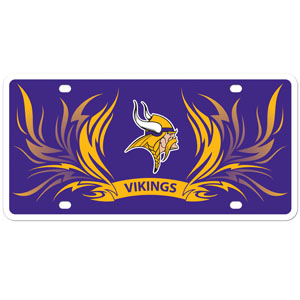 Minnesota Vikings Flame Plate - This Minnesota Vikings styrene license plate features a wild flame design around the Minnesota Vikings logo. The styrene license plate comes with 4 suction cups for easy mounting to windows. Officially licensed NFL product Licensee: Siskiyou Buckle .com