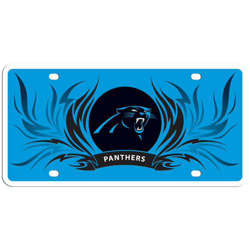 Carolina Panthers Flame Plate - This Carolina Panthers styrene license plate features a wild flame design around the Carolina Panthers logo. The Carolina Panthers styrene license plate comes with 4 suction cups for easy mounting to windows. Officially licensed NFL product Licensee: Siskiyou Buckle Thank you for visiting CrazedOutSports.com