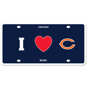 Chicago Bears - I Love Chicago Bears Plate - Show your love for your team with our Chicago Bears I Heart styrene license plate. The plate comes with 4 suction cups for easy mounting to windows. Officially licensed NFL product Licensee: Siskiyou Buckle .com