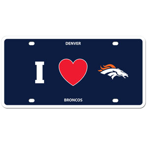 Denver Broncos - I Love Denver Broncos Plate - Show your love for your team with our Denver Broncos I Heart styrene license plate. The plate comes with 4 suction cups for easy mounting to windows. Officially licensed NFL product Licensee: Siskiyou Buckle Thank you for visiting CrazedOutSports.com