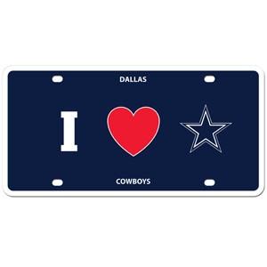 Dallas Cowboys - I Love Dallas Cowboys Plate - Show your love for your team with our Dallas Cowboys I Heart styrene license plate. The plate comes with 4 suction cups for easy mounting to windows. Officially licensed NFL product Licensee: Siskiyou Buckle Thank you for visiting CrazedOutSports.com
