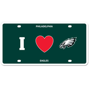 Philadelphia Eagles - I Love Philadelphia Eagles Plate - Show your love for your team with our Philadelphia Eagles I Heart styrene license plate. The plate comes with 4 suction cups for easy mounting to windows. Officially licensed NFL product Licensee: Siskiyou Buckle .com