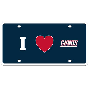 New York Giants - I Love New York Giants license Plate - Show your love for your team with our New York Giants I Heart styrene license plate. The plate comes with 4 suction cups for easy mounting to windows. Officially licensed NFL product Licensee: Siskiyou Buckle .com
