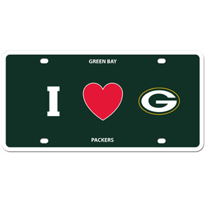 Green Bay Packers - I Love Green Bay Packers license Plate - Show your love for your team with our Green Bay Packers I Heart styrene license plate. The plate comes with 4 suction cups for easy mounting to windows. Officially licensed NFL product Licensee: Siskiyou Buckle .com