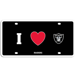Oakland Raiders - I Heart Oakland Raiders lisence Plate - Show your love for your team with our Oakland Raiders I Heart styrene license plate. The plate comes with 4 suction cups for easy mounting to windows. Officially licensed NFL product Licensee: Siskiyou Buckle Thank you for visiting CrazedOutSports.com