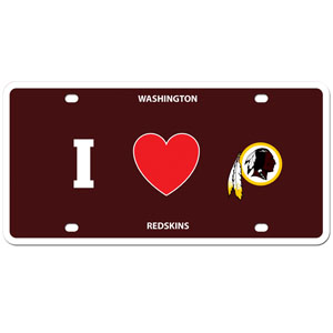 Washington Redskins - I Love Washington Redskins Lisence Plate - Show your love for your team with our Washington Redskins I Heart styrene license plate. The plate comes with 4 suction cups for easy mounting to windows. Officially licensed NFL product Licensee: Siskiyou Buckle Thank you for visiting CrazedOutSports.com