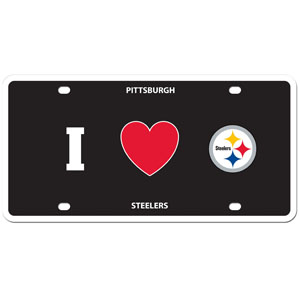 Pittsburgh Steelers - I Love Steelers Lisence Plate - Show your love for your team with our Pittsburgh Steelers I Heart styrene license plate. The plate comes with 4 suction cups for easy mounting to windows. Officially licensed NFL product Licensee: Siskiyou Buckle .com