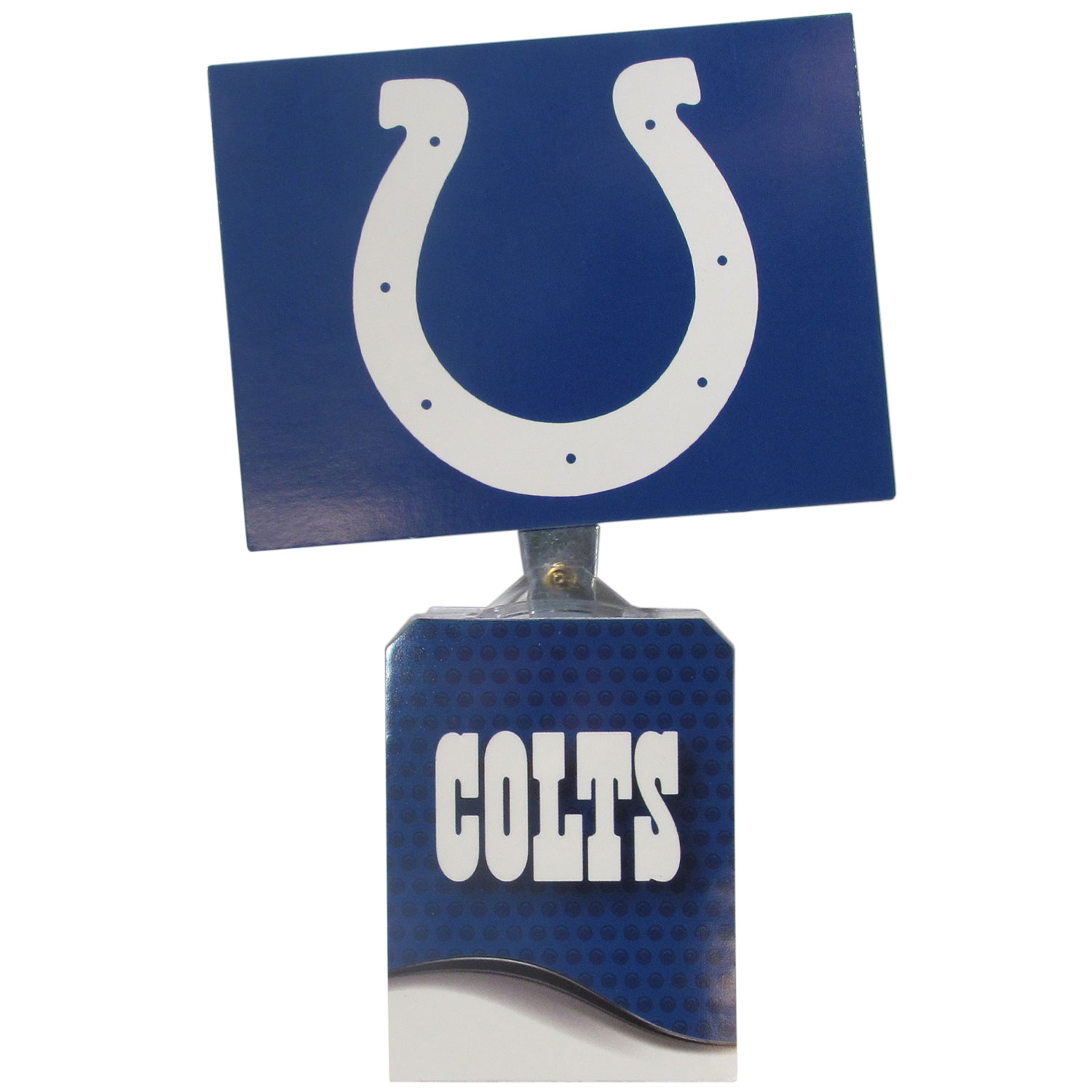Indianapolis Colts Solar Flags - Get pumped up on the way to game with Siskiyou's Chicago Bears Indianapolis Colts Solar Flag that mounts to your dashboard or window. The in-motion solar flag also doubles as decoration for your tailgate or homegate! The base of the flag is 3 inches tall and the flag is 4 inches making the entire in-motion solar flag stand at 7 inches tall. Keep your spirit moving with your favorite team's Solar Flag.