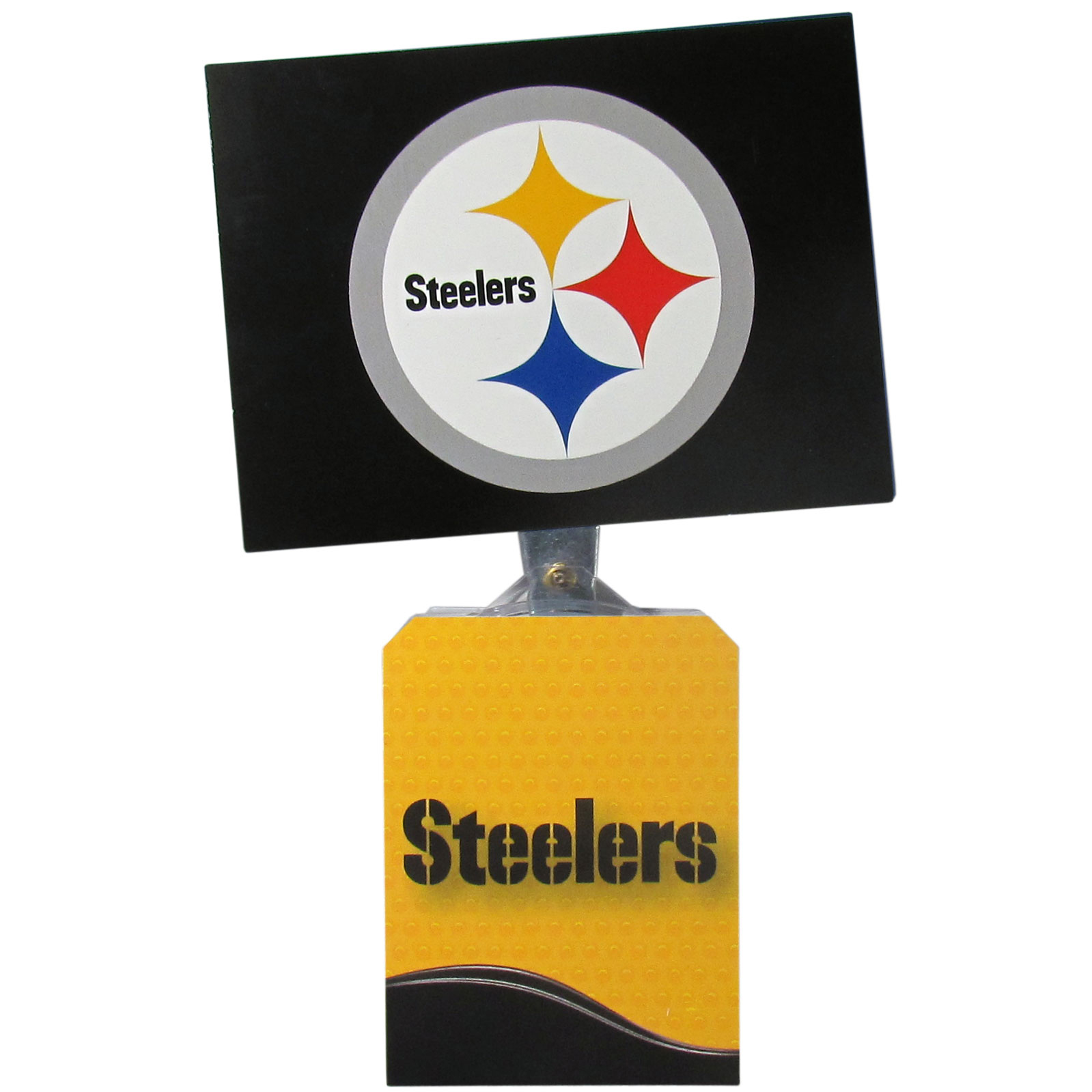 Pittsburgh Steelers Solar Flags - Get pumped up on the way to game with Siskiyou's Chicago Bears Pittsburgh Steelers Solar Flag that mounts to your dashboard or window. The in-motion solar flag also doubles as decoration for your tailgate or homegate! The base of the flag is 3 inches tall and the flag is 4 inches making the entire in-motion solar flag stand at 7 inches tall. Keep your spirit moving with your favorite team's Solar Flag.