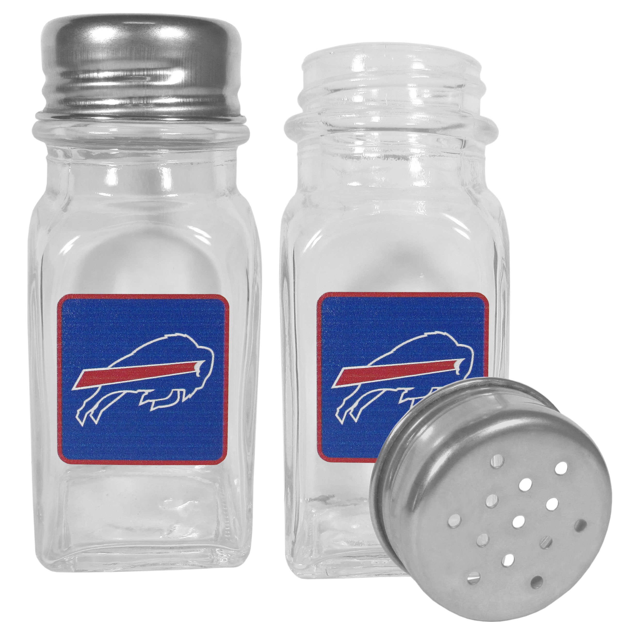 Buffalo Bills Graphics Salt and Pepper Shaker - No tailgate party is complete without your Buffalo Bills salt & pepper shakers featuring bright team logos. The diner replica salt and pepper shakers are glass with screw top lids. These team shakers are a great grill accessory whether you are barbecuing on the patio, picnicing or having a game day party.
