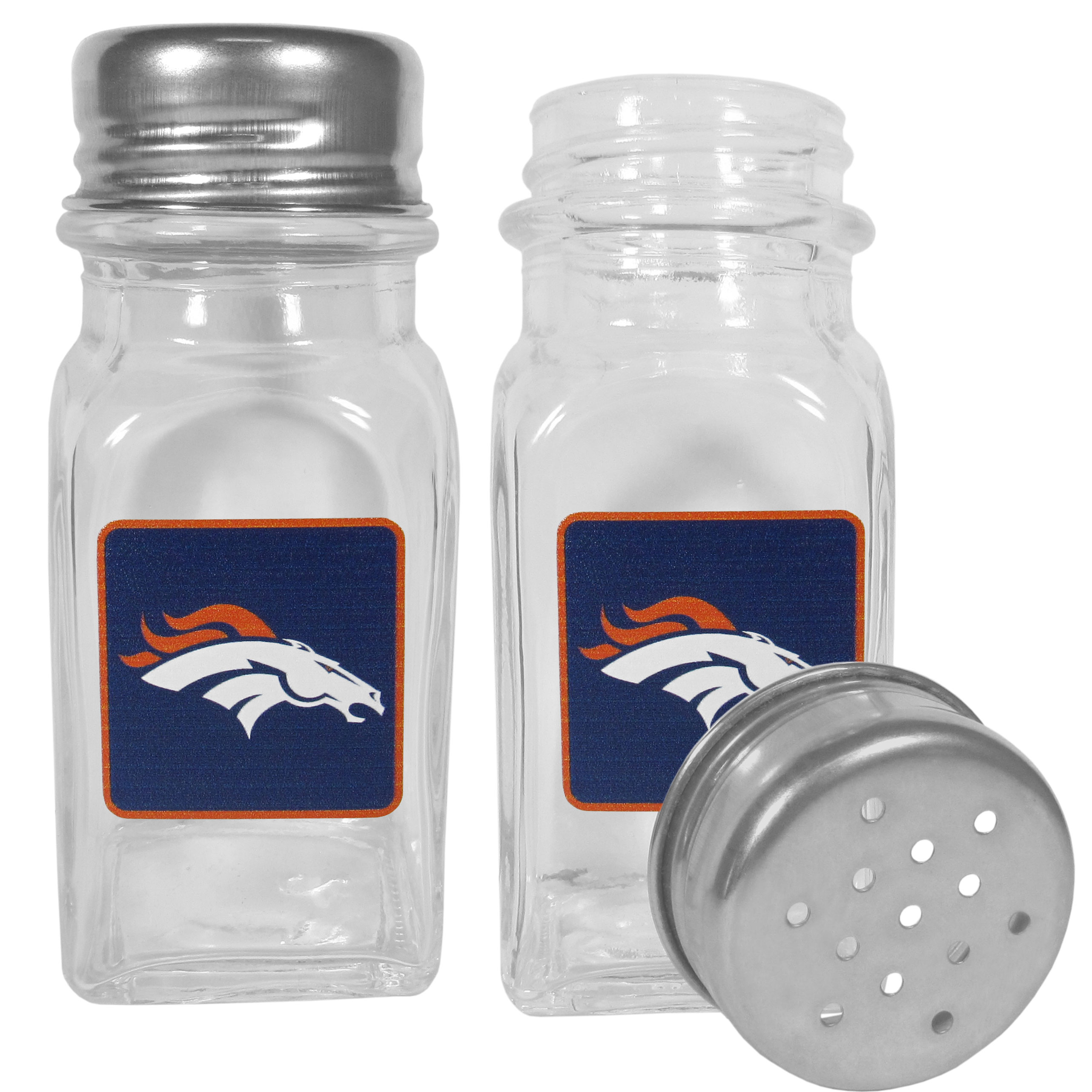 Denver Broncos Graphics Salt and Pepper Shaker - No tailgate party is complete without your Denver Broncos salt & pepper shakers featuring bright team logos. The diner replica salt and pepper shakers are glass with screw top lids. These team shakers are a great grill accessory whether you are barbecuing on the patio, picnicing or having a game day party.