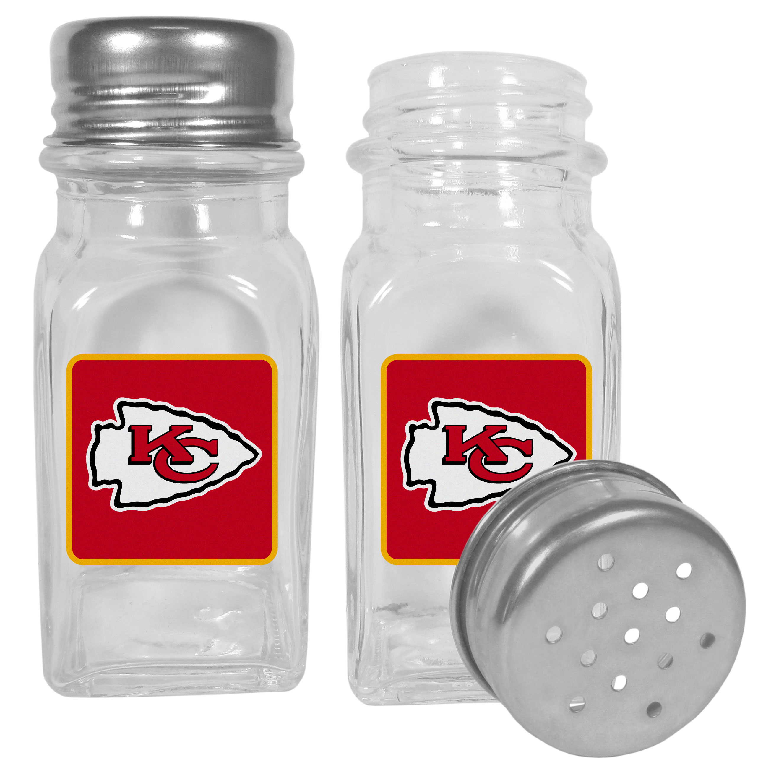 Kansas City Chiefs Graphics Salt and Pepper Shaker - No tailgate party is complete without your Kansas City Chiefs salt & pepper shakers featuring bright team logos. The diner replica salt and pepper shakers are glass with screw top lids. These team shakers are a great grill accessory whether you are barbecuing on the patio, picnicing or having a game day party.