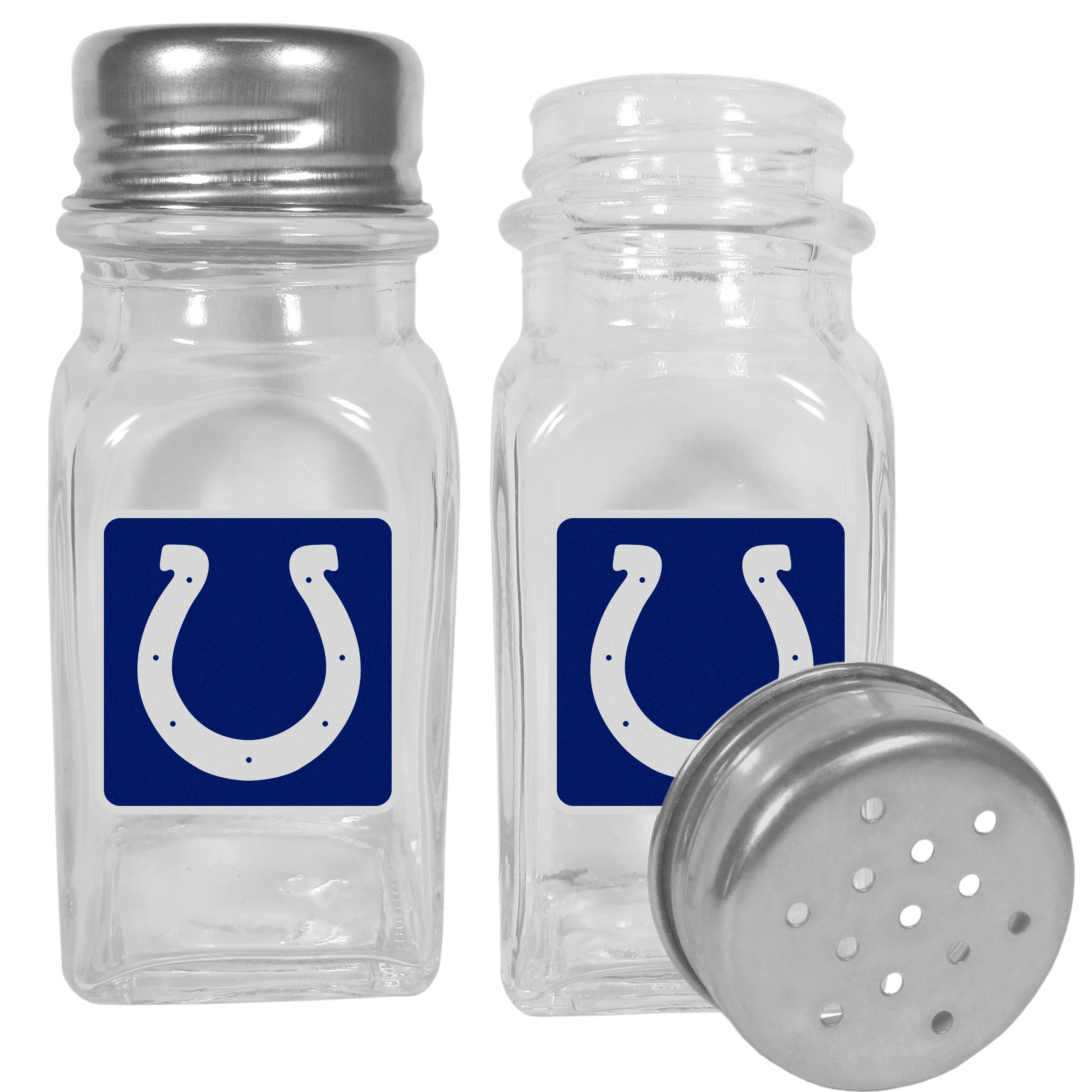 Indianapolis Colts Graphics Salt and Pepper Shaker - No tailgate party is complete without your Indianapolis Colts salt & pepper shakers featuring bright team logos. The diner replica salt and pepper shakers are glass with screw top lids. These team shakers are a great grill accessory whether you are barbecuing on the patio, picnicing or having a game day party.