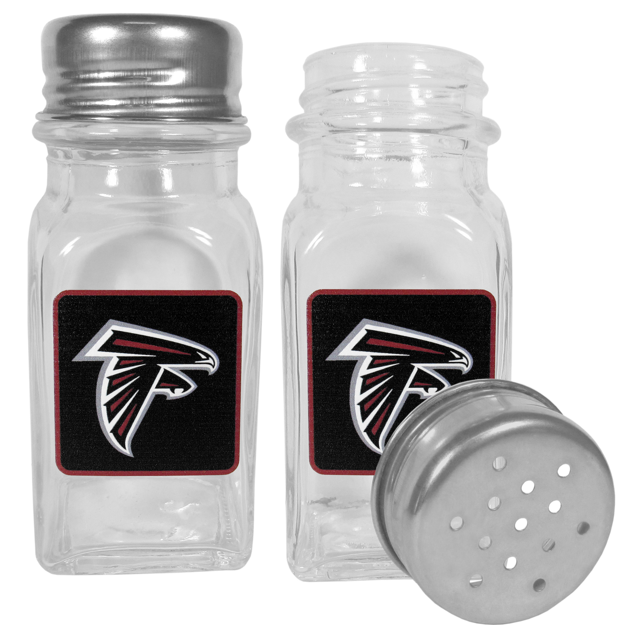 Atlanta Falcons Graphics Salt and Pepper Shaker - No tailgate party is complete without your Atlanta Falcons salt & pepper shakers featuring bright team logos. The diner replica salt and pepper shakers are glass with screw top lids. These team shakers are a great grill accessory whether you are barbecuing on the patio, picnicing or having a game day party.