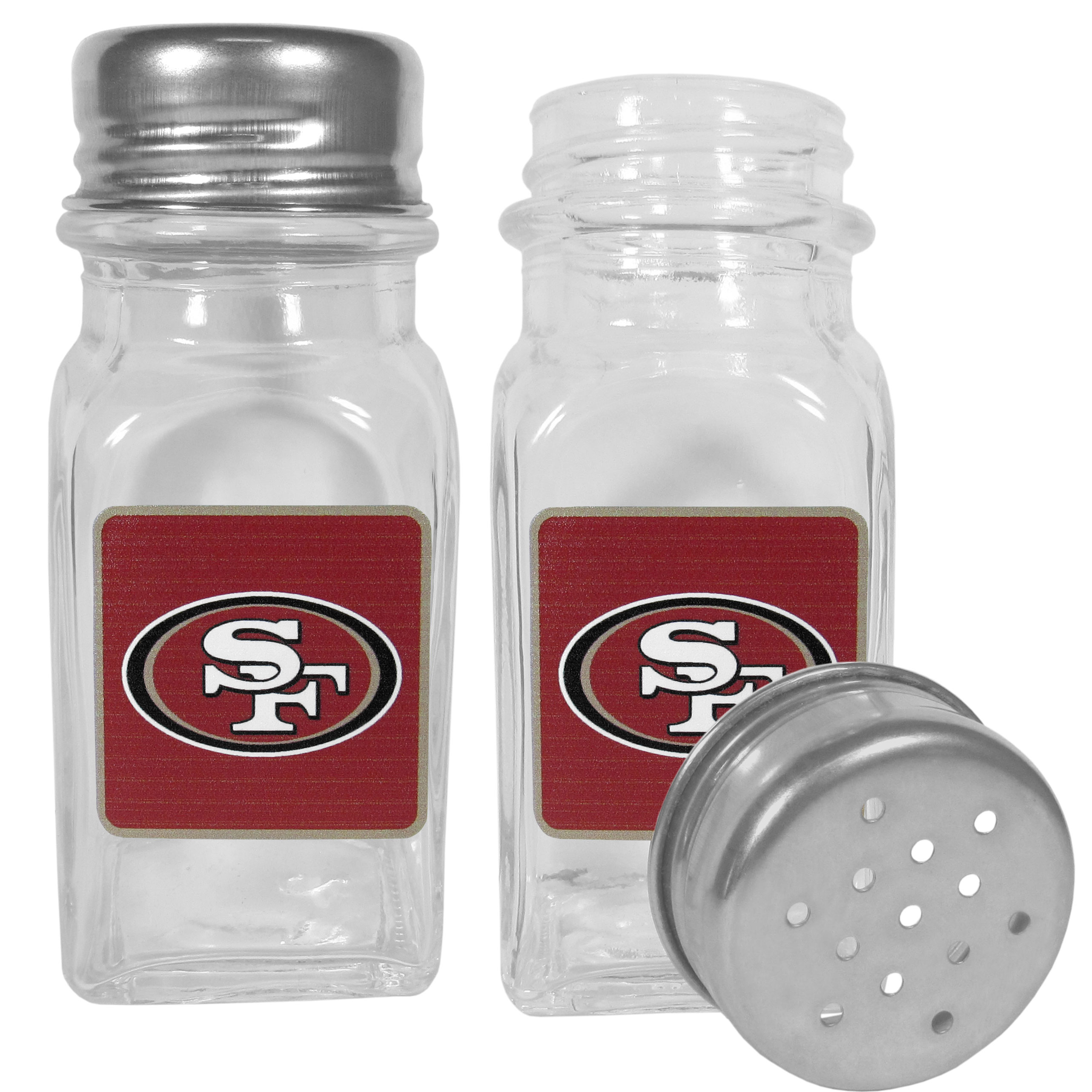 San Francisco 49ers Graphics Salt and Pepper Shaker - No tailgate party is complete without your San Francisco 49ers salt & pepper shakers featuring bright team logos. The diner replica salt and pepper shakers are glass with screw top lids. These team shakers are a great grill accessory whether you are barbecuing on the patio, picnicing or having a game day party.
