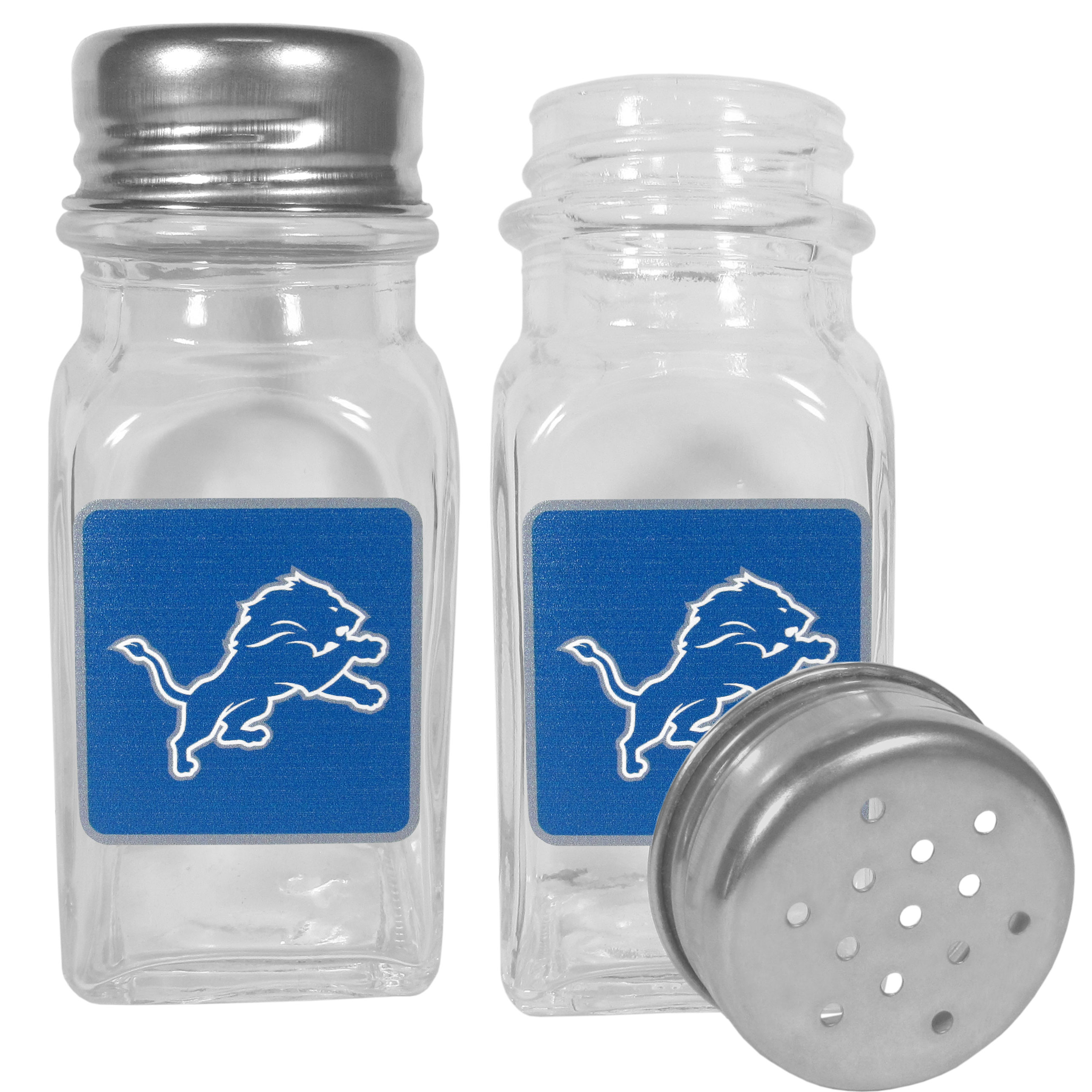 Detroit Lions Graphics Salt and Pepper Shaker - No tailgate party is complete without your Detroit Lions salt & pepper shakers featuring bright team logos. The diner replica salt and pepper shakers are glass with screw top lids. These team shakers are a great grill accessory whether you are barbecuing on the patio, picnicing or having a game day party.