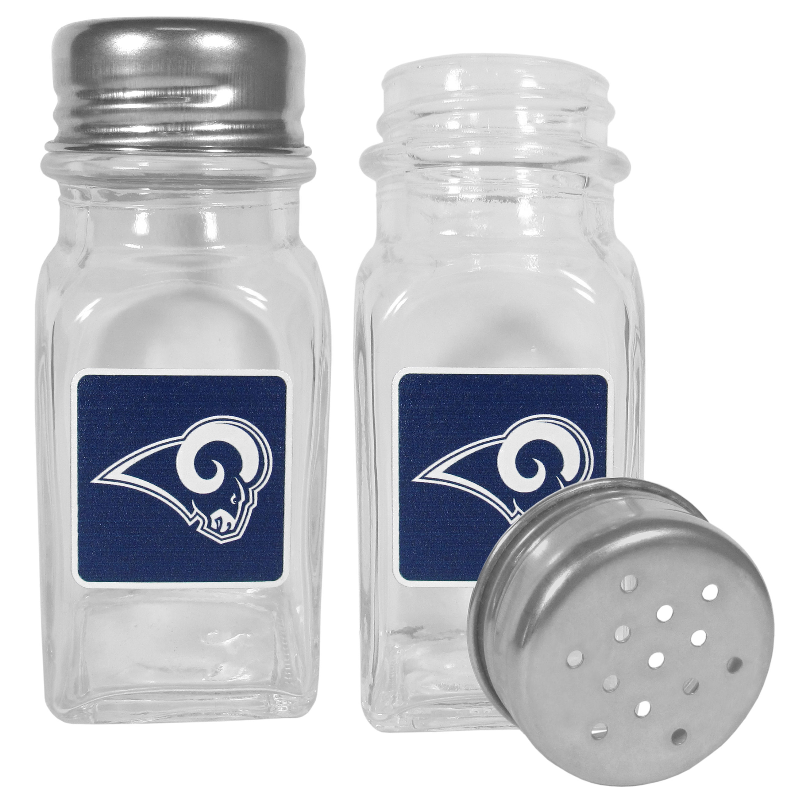 Los Angeles Rams Graphics Salt and Pepper Shaker - No tailgate party is complete without your Los Angeles Rams salt & pepper shakers featuring bright team logos. The diner replica salt and pepper shakers are glass with screw top lids. These team shakers are a great grill accessory whether you are barbecuing on the patio, picnicing or having a game day party.