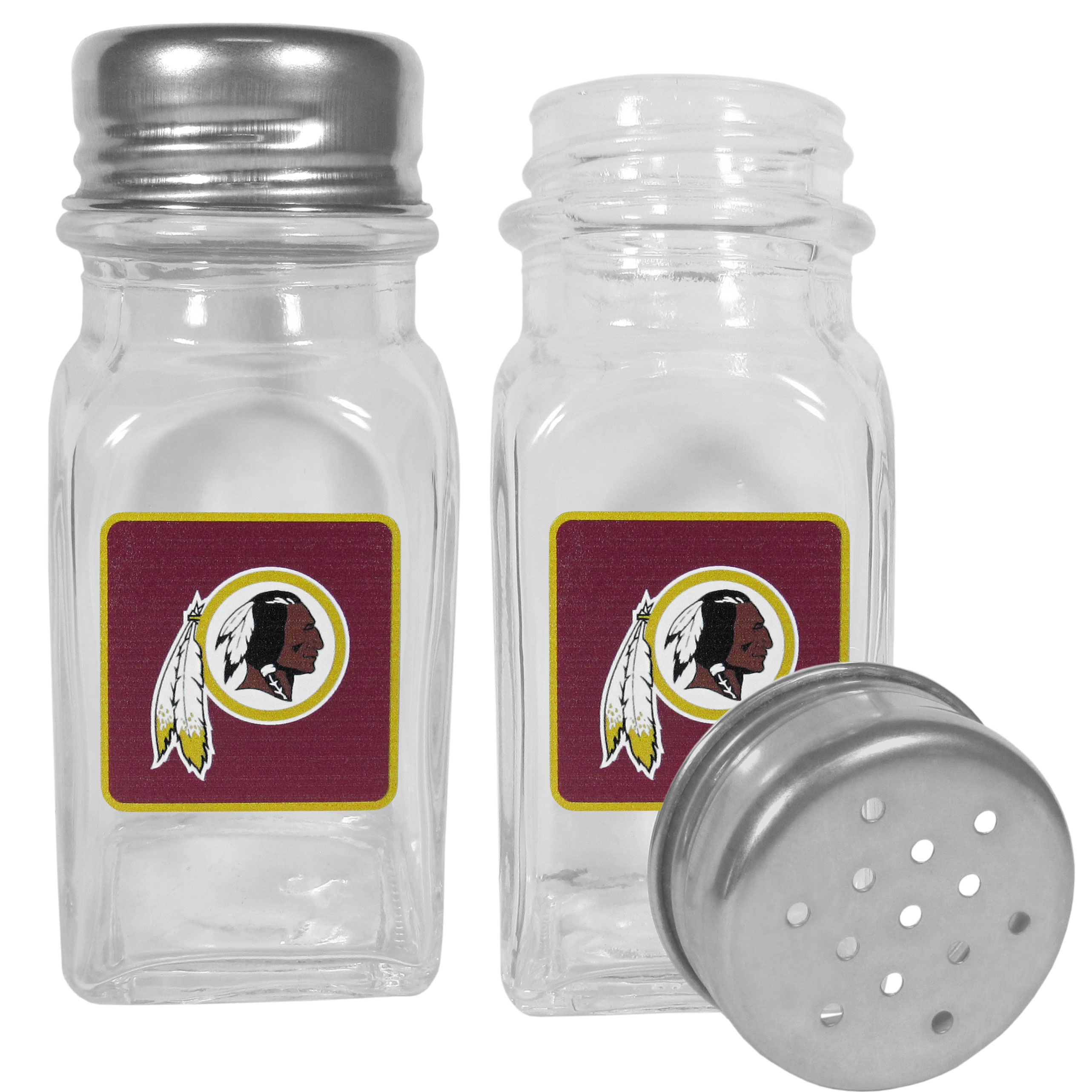 Washington Redskins Graphics Salt and Pepper Shaker - No tailgate party is complete without your Washington Redskins salt & pepper shakers featuring bright team logos. The diner replica salt and pepper shakers are glass with screw top lids. These team shakers are a great grill accessory whether you are barbecuing on the patio, picnicing or having a game day party.