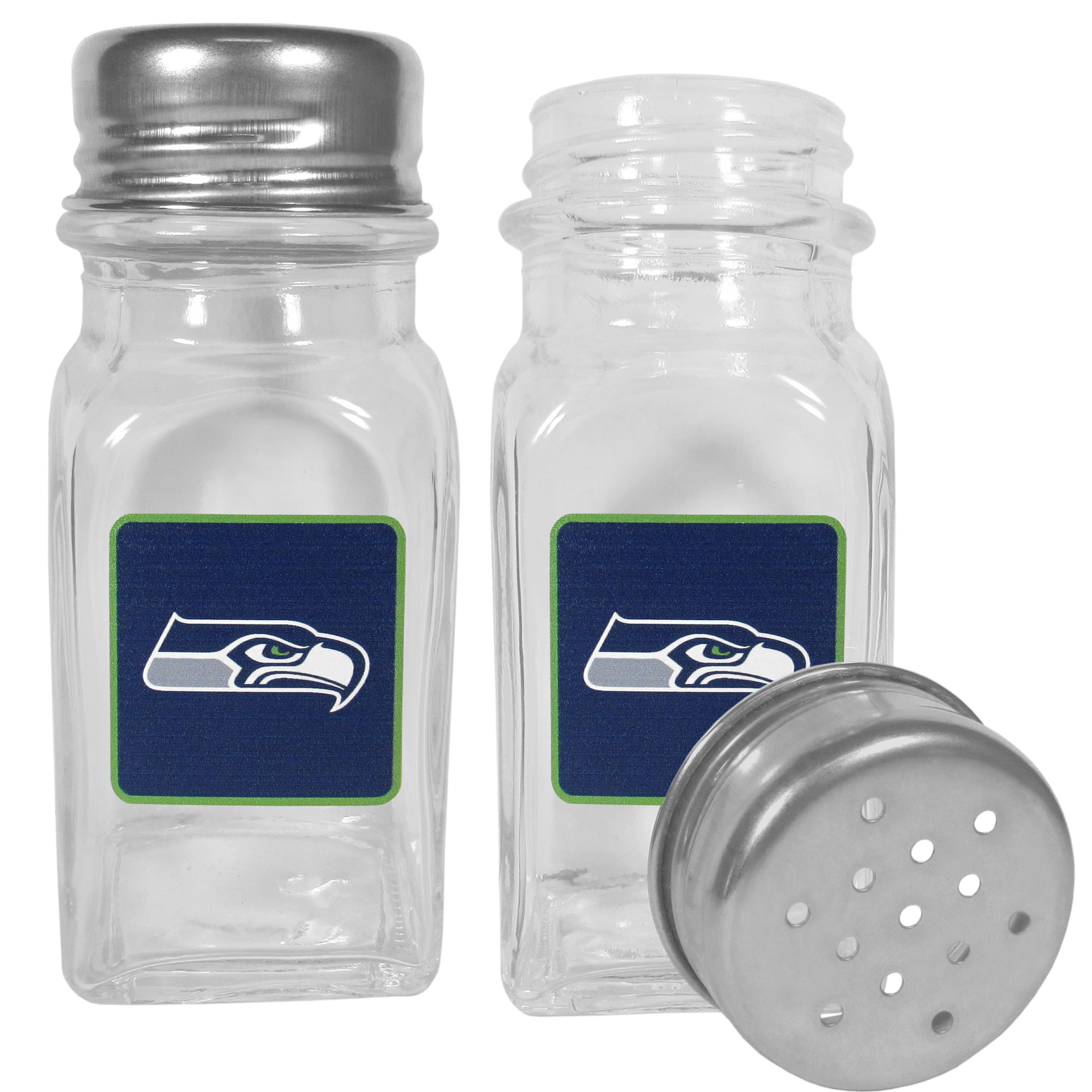 Seattle Seahawks Graphics Salt & Pepper Shaker - No tailgate party is complete without your Seattle Seahawks salt & pepper shakers featuring bright team logos. The diner replica salt and pepper shakers are glass with screw top lids. These team shakers are a great grill accessory whether you are barbecuing on the patio, picnicing or having a game day party.