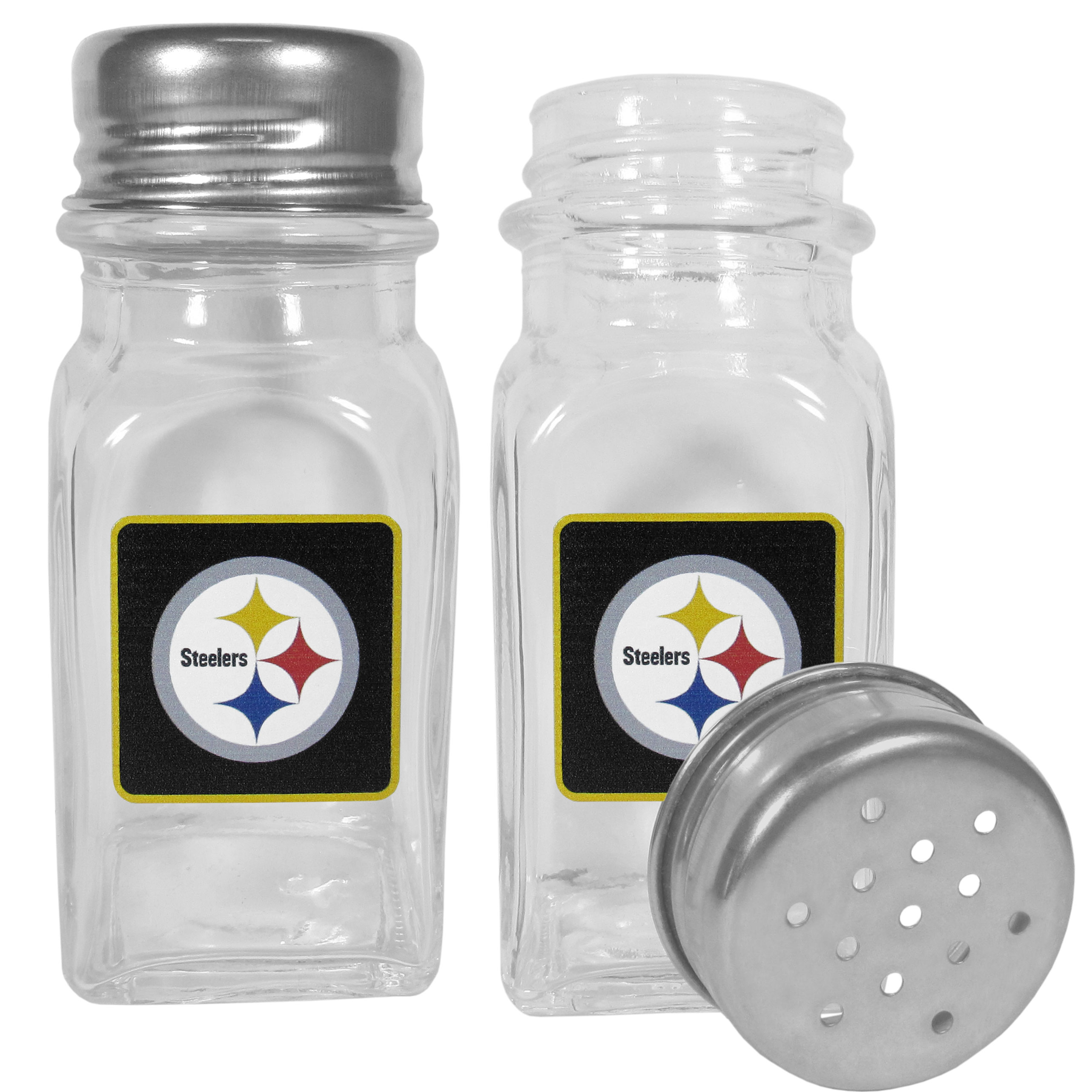 Pittsburgh Steelers Graphics Salt and Pepper Shaker - No tailgate party is complete without your Pittsburgh Steelers salt & pepper shakers featuring bright team logos. The diner replica salt and pepper shakers are glass with screw top lids. These team shakers are a great grill accessory whether you are barbecuing on the patio, picnicing or having a game day party.