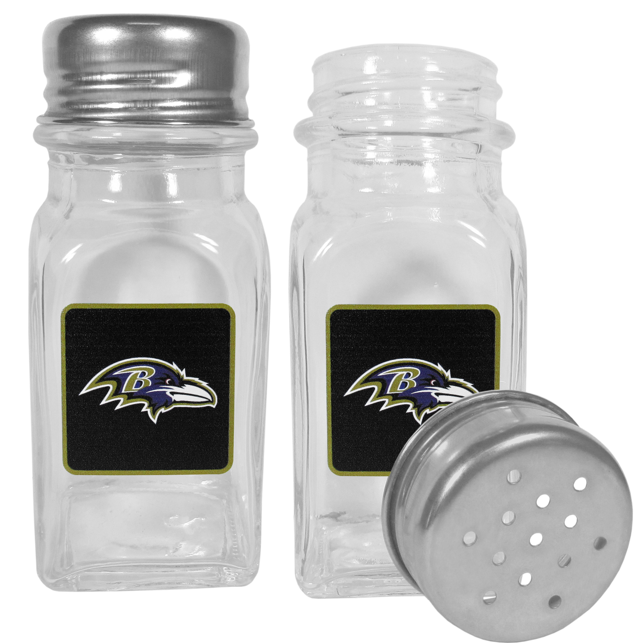 Baltimore Ravens Graphics Salt & Pepper Shaker - No tailgate party is complete without your Baltimore Ravens salt & pepper shakers featuring bright team logos. The diner replica salt and pepper shakers are glass with screw top lids. These team shakers are a great grill accessory whether you are barbecuing on the patio, picnicing or having a game day party.