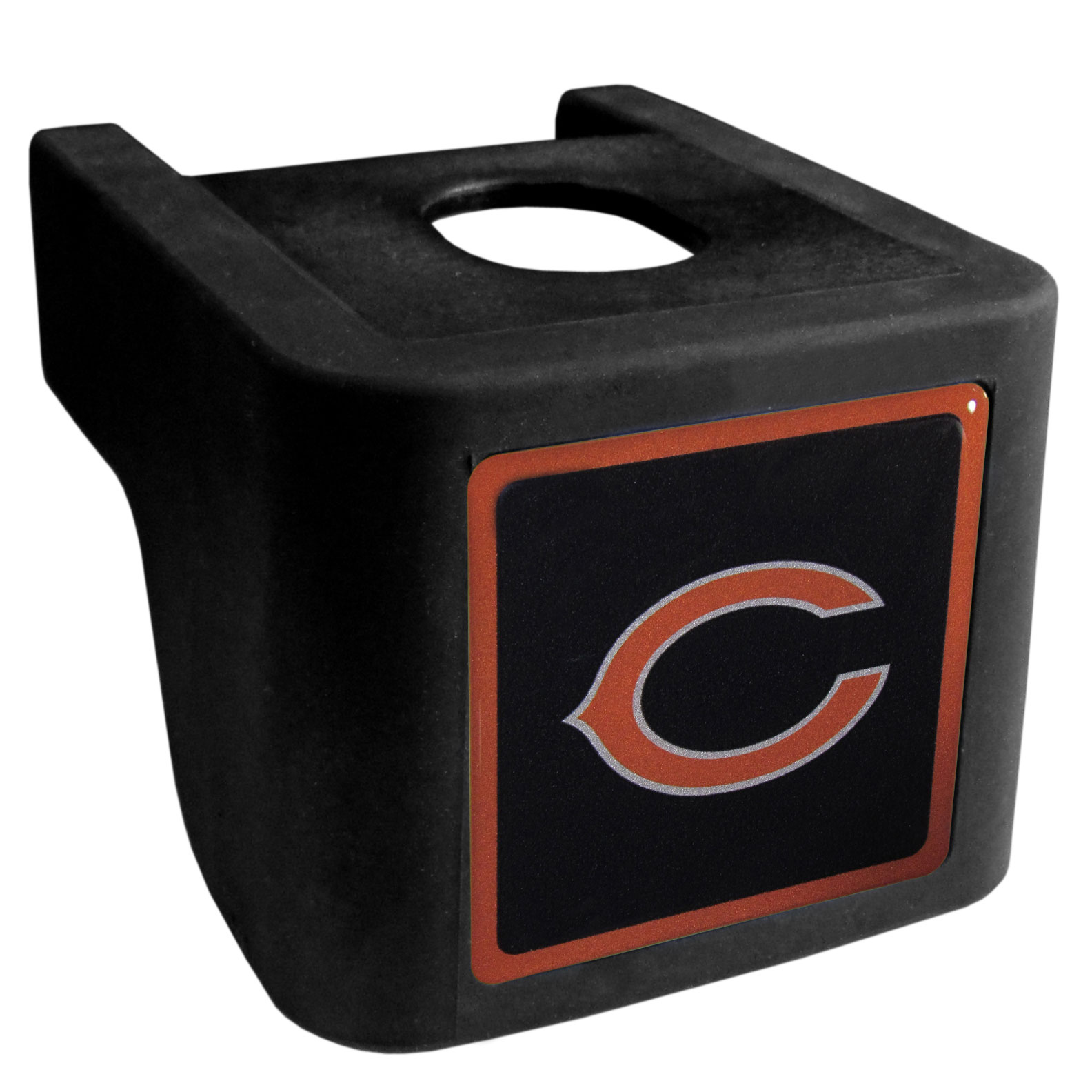 Chicago Bears Shin Shield Hitch Cover - This unique hitch cover features a large Chicago Bears logo. If you have ever hooked up a trailer or boat your have probably smashed your shins on the ball hitch a few times. This revolutionary shin shield hitch cover provides your much abused shins with the protection they deserve! The tough rubber hitch is rated to work with Class V hitch receivers hauling up to 17,000 gross trailer weight and 1,700 tongue weight allowing you to leave it on while hauling.