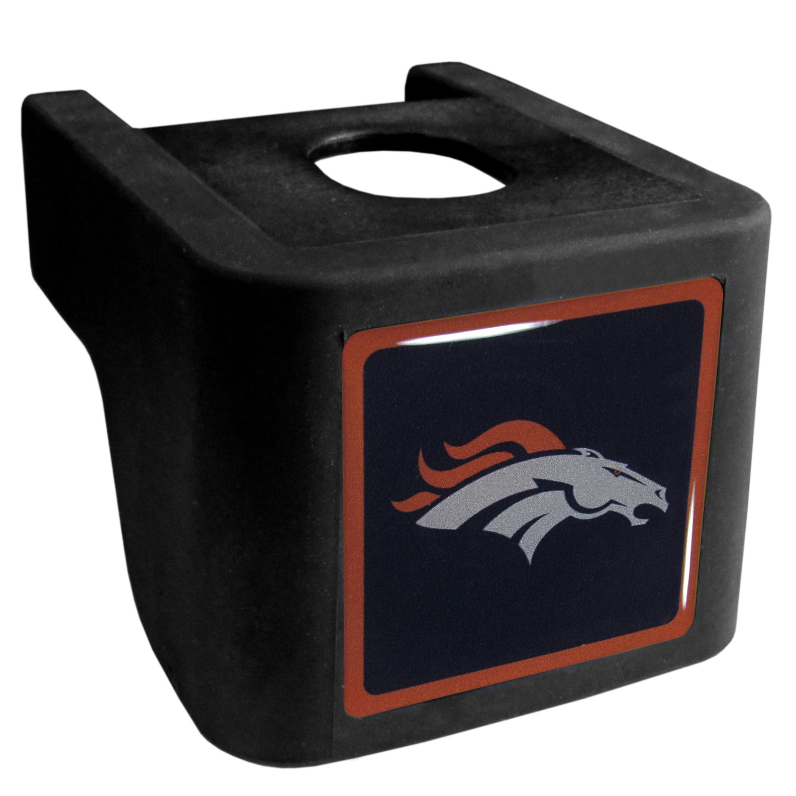 Denver Broncos Shin Shield Hitch Cover - This unique hitch cover features a large Denver Broncos logo. If you have ever hooked up a trailer or boat your have probably smashed your shins on the ball hitch a few times. This revolutionary shin shield hitch cover provides your much abused shins with the protection they deserve! The tough rubber hitch is rated to work with Class V hitch receivers hauling up to 17,000 gross trailer weight and 1,700 tongue weight allowing you to leave it on while hauling.