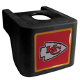 Kansas City Chiefs Shin Shield Hitch Cover - This unique hitch cover features a large Kansas City Chiefs logo. If you have ever hooked up a trailer or boat your have probably smashed your shins on the ball hitch a few times. This revolutionary shin shield hitch cover provides your much abused shins with the protection they deserve! The tough rubber hitch is rated to work with Class V hitch receivers hauling up to 17,000 gross trailer weight and 1,700 tongue weight allowing you to leave it on while hauling. Officially licensed NFL product Licensee: Siskiyou Buckle .com