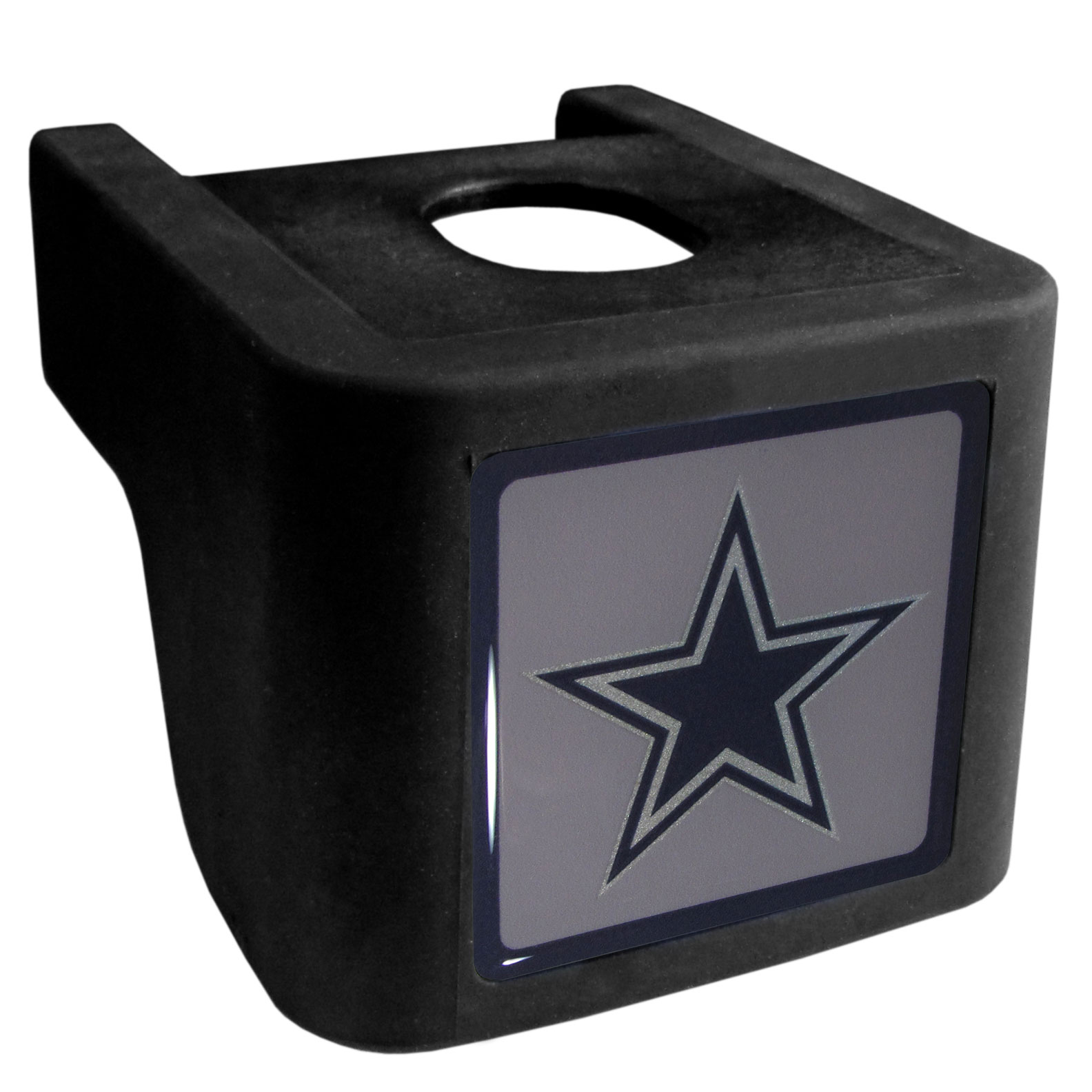 Dallas Cowboys Shin Shield Hitch Cover - This unique hitch cover features a large Dallas Cowboys logo. If you have ever hooked up a trailer or boat your have probably smashed your shins on the ball hitch a few times. This revolutionary shin shield hitch cover provides your much abused shins with the protection they deserve! The tough rubber hitch is rated to work with Class V hitch receivers hauling up to 17,000 gross trailer weight and 1,700 tongue weight allowing you to leave it on while hauling.