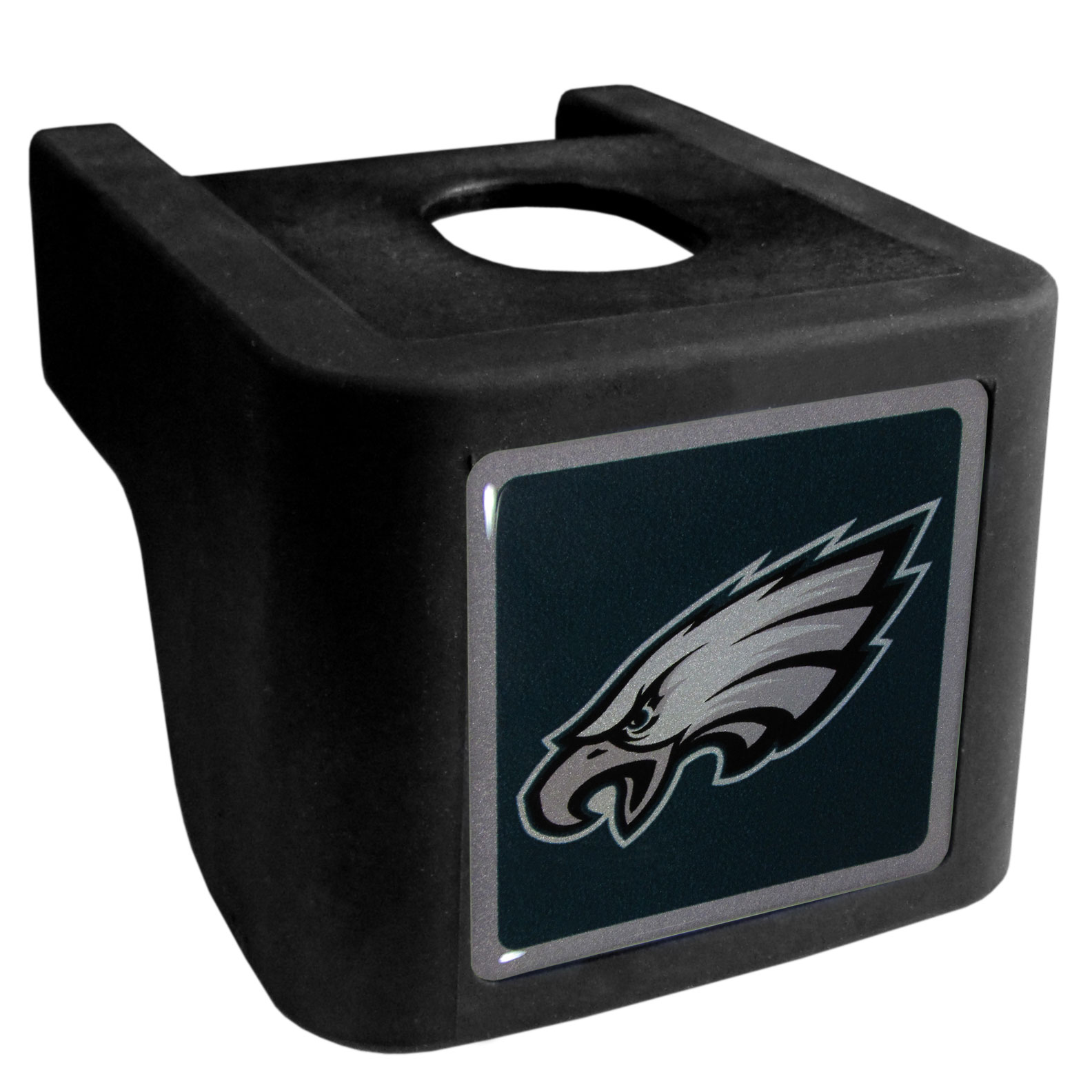 Philadelphia Eagles Shin Shield Hitch Cover - This unique hitch cover features a large Philadelphia Eagles logo. If you have ever hooked up a trailer or boat your have probably smashed your shins on the ball hitch a few times. This revolutionary shin shield hitch cover provides your much abused shins with the protection they deserve! The tough rubber hitch is rated to work with Class V hitch receivers hauling up to 17,000 gross trailer weight and 1,700 tongue weight allowing you to leave it on while hauling.