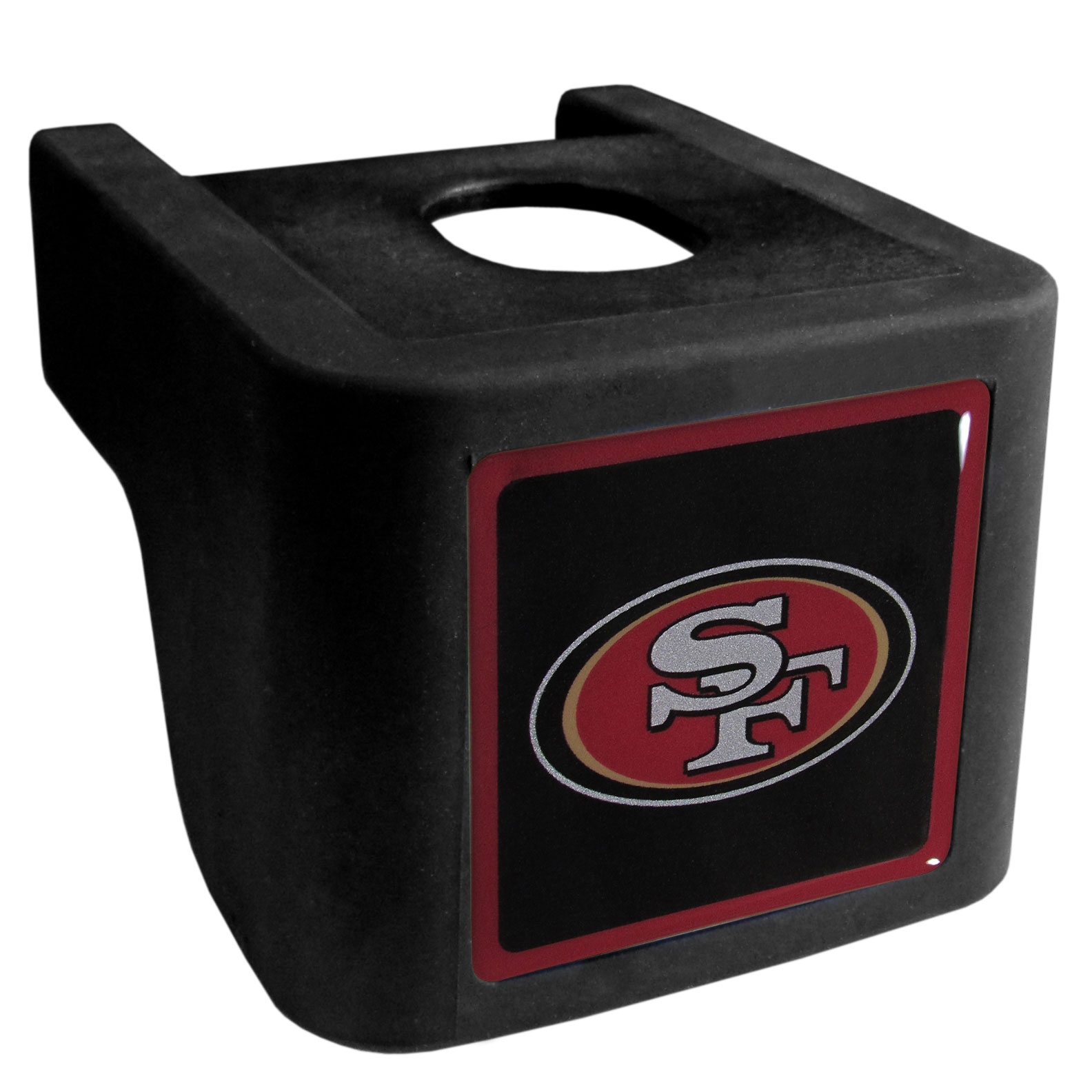 San Francisco 49ers Shin Shield Hitch Cover - This unique hitch cover features a large San Francisco 49ers logo. If you have ever hooked up a trailer or boat your have probably smashed your shins on the ball hitch a few times. This revolutionary shin shield hitch cover provides your much abused shins with the protection they deserve! The tough rubber hitch is rated to work with Class V hitch receivers hauling up to 17,000 gross trailer weight and 1,700 tongue weight allowing you to leave it on while hauling.