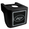 New York Jets Shin Shield Hitch Cover - This unique hitch cover features a large New York Jets logo. If you have ever hooked up a trailer or boat your have probably smashed your shins on the ball hitch a few times. This revolutionary shin shield hitch cover provides your much abused shins with the protection they deserve! The tough rubber hitch is rated to work with Class V hitch receivers hauling up to 17,000 gross trailer weight and 1,700 tongue weight allowing you to leave it on while hauling. Officially licensed NFL product Licensee: Siskiyou Buckle .com