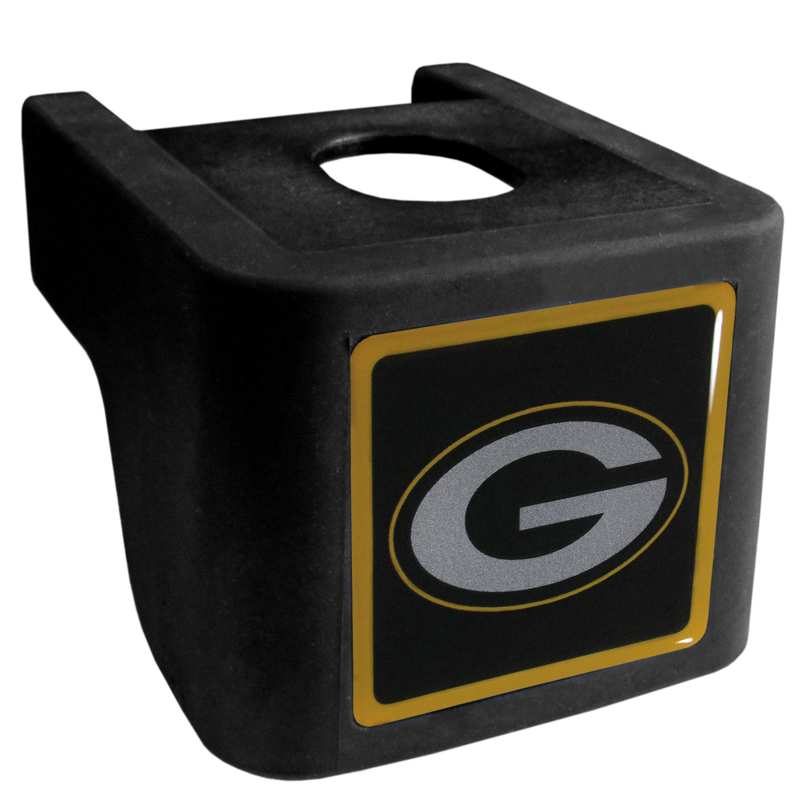 Green Bay Packers Shin Shield Hitch Cover - This unique hitch cover features a large Green Bay Packers logo. If you have ever hooked up a trailer or boat your have probably smashed your shins on the ball hitch a few times. This revolutionary shin shield hitch cover provides your much abused shins with the protection they deserve! The tough rubber hitch is rated to work with Class V hitch receivers hauling up to 17,000 gross trailer weight and 1,700 tongue weight allowing you to leave it on while hauling.