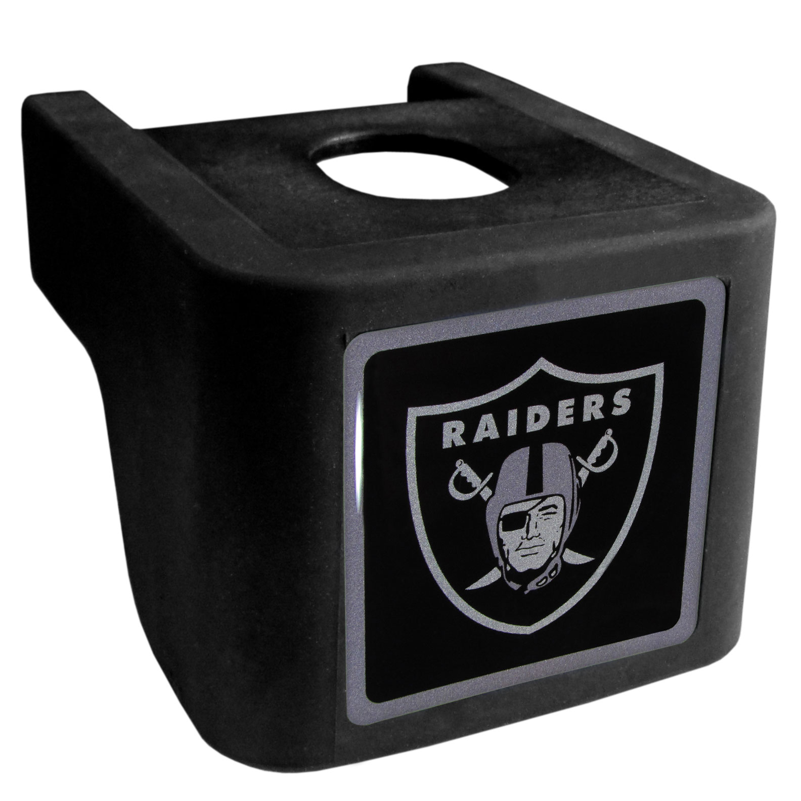 Oakland Raiders Shin Shield Hitch Cover - This unique hitch cover features a large Oakland Raiders logo. If you have ever hooked up a trailer or boat your have probably smashed your shins on the ball hitch a few times. This revolutionary shin shield hitch cover provides your much abused shins with the protection they deserve! The tough rubber hitch is rated to work with Class V hitch receivers hauling up to 17,000 gross trailer weight and 1,700 tongue weight allowing you to leave it on while hauling.