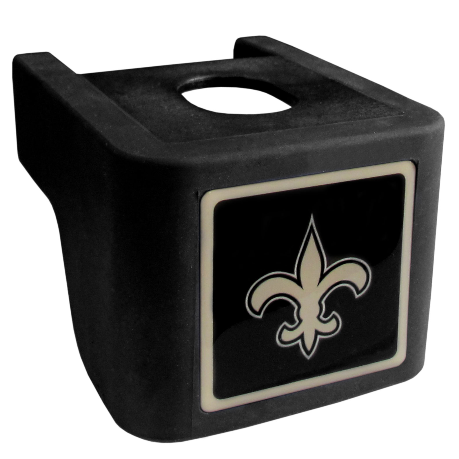 New Orleans Saints Shin Shield Hitch Cover - This unique hitch cover features a large New Orleans Saints logo. If you have ever hooked up a trailer or boat your have probably smashed your shins on the ball hitch a few times. This revolutionary shin shield hitch cover provides your much abused shins with the protection they deserve! The tough rubber hitch is rated to work with Class V hitch receivers hauling up to 17,000 gross trailer weight and 1,700 tongue weight allowing you to leave it on while hauling.